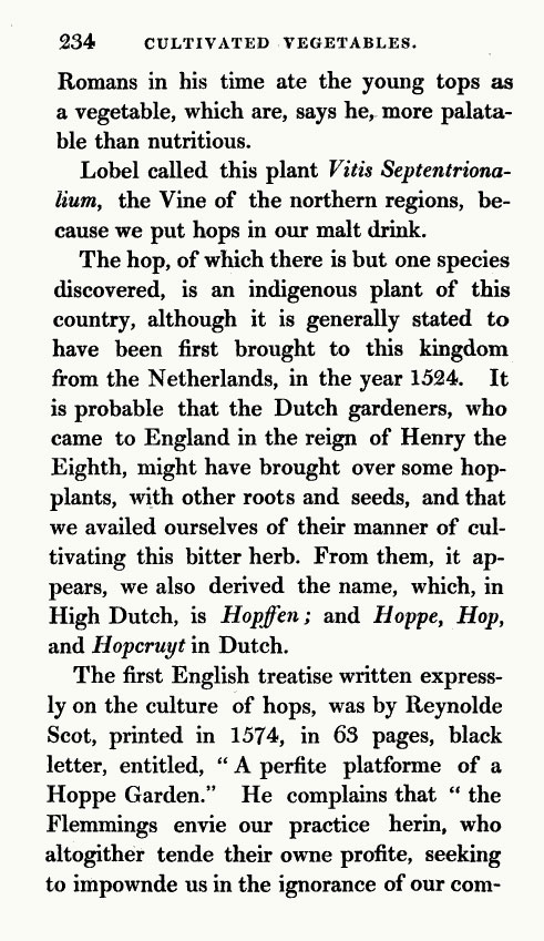 hops history of 1827